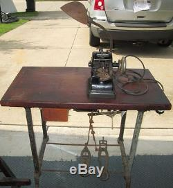 Antique Bonis Leather Fur Sewing Machine Table Industrial Steampunk WORKS n/belt