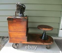 Antique Hand Crank Industrial Sewing Machine with Factory Bench & Stool on Wheels