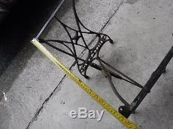 Antique ORNATE Cast Iron Industrial Table Base Legs White Sewing Machine