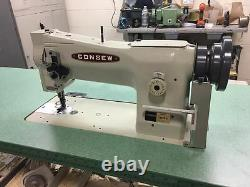Consew 206RB-5 Industrial Sewing Machine With American Made Wood Green Top Table