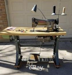 Consew 206-rb Walking Foot Industrial Sewing Machine +motor, Table +casters Euc