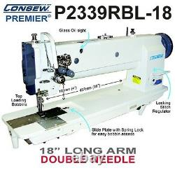 Consew P2339RBL-18 Double Needle 18 Long Arm Walking Foot withKD Stand and Servo