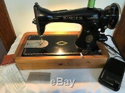 Industrial Strength Singer 15-91 Heavy Duty Sewing Machine Serviced Cherry Base