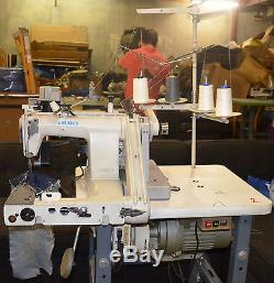 Juki MS-1190 Industrial Sewing Machine with Puller, Motor, Table, Thread Stand