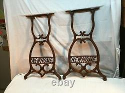 NEW HOME Sewing Machine CAST IRON Pair Treadle Base Legs Side Table Industrial
