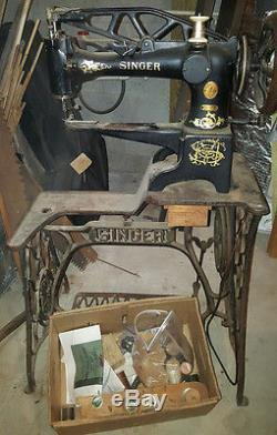 Old Singer 29K Treadle Industrial Sewing Machine Cobblers Leather with Attachments