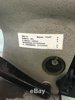 Pfaff 481 Industrial Grade Sewing Machine & Beautiful Green Table Gooseneck Lamp