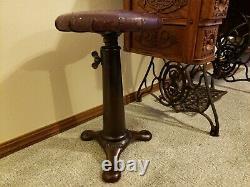 RARE Vintage Singer Sewing Machine Industrial Iron Stool w Adjustable Wood Seat