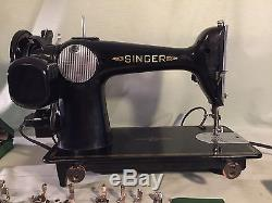 Refurbished 1950 Singer 201-2 Sewing Machine, Walking Foot, Leather, Extras, Video