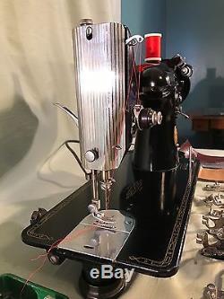 Refurbished 1956 Singer 201-2 Sewing Machine, Walking Foot, Leather, Extras, Video