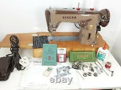 SINGER 320K SEWING MACHINE, FREE-ARM, ZIG-ZAG, SERVICED, PAT TEST, sews LEATHER