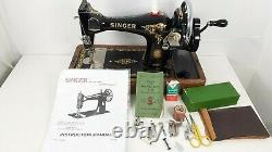 Semi-Industrial Singer 128K Handcrank Sewing Machine, NEWLY SERVICED, sews LEATHER