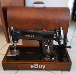Singer 201K 201K23 Semi-Industrial Vintage 1958 Black Sewing Machine Hand Crank