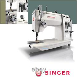 Singer 20U83 Zig-Zag Industrial Sewing Machine With Table and Servo Motor