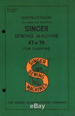 Singer 47W70 Sewing Machine (1951 Centennial Seal) Industrial Commercial Darner