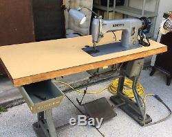 Singer Industrial Sewing Machine Model 331k1 USA Motor Table Drawer Furniture 1
