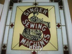 Singer Sewing Machine Painted Advertisment Stain Glass Sign With Original Box