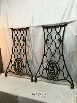 VTG Singer Sewing Machine CAST IRON Pair Treadle Base Legs Side Table Industrial