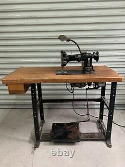 Vintage Pfaff 130 Sewing Machine withIndustrial Motor & Base withButcher Block Top