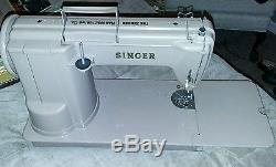 Vintage SINGER Model 301A Heavy Duty Industrial Sewing Machine With Case & Manual